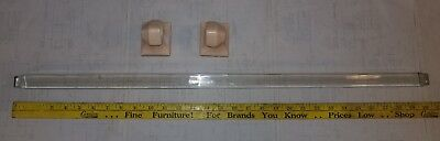 """Reclaimed Vintage Antique 30"""" Square Glass Towel Bar with Ceramic Mounts LOWERED"""