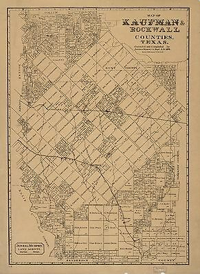 12x18 inch Reprint of USA City Towns States Map Kaufman Rockwall Counties Texas