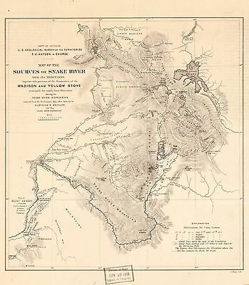12x18 inch Reprint of Lakes And Rivers Map Sources Of Snake River