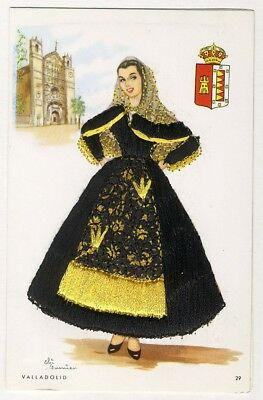 SPANISH Lady in Black Gold EMBROIDERED Postcard by Elsi Gumier VALLADOLID Spain