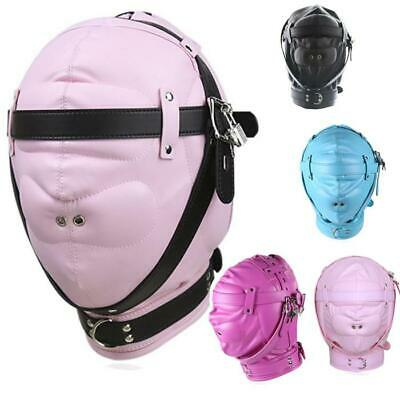 Faux Leather Hood Full Mask Bondage Sensory Deprivation Cosplay Role play