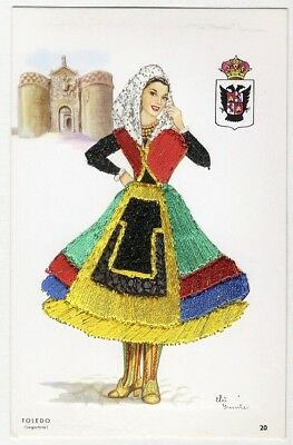 Embroidered Postcard SPANISH LADY from Toledo Spain by Elsi GUMIER