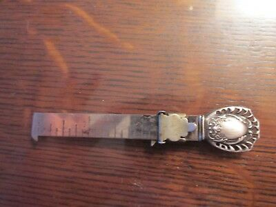 Antique Webster Co Sterling Silver Sewing Hem Gauge Ruler Floral No Monograms