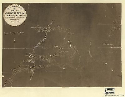 12x18 inch Reprint of American Cities Towns States Map Georgia