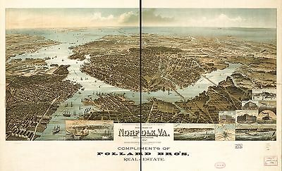 12x18 inch Reprint of American Cities Towns Map Norfolk Virginia