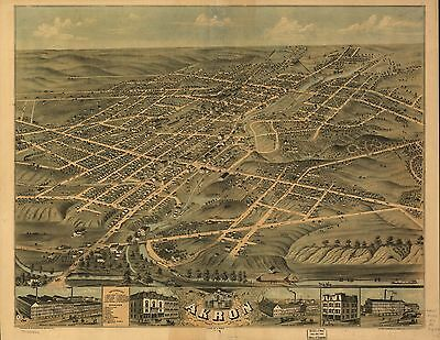 12x18 inch Reprint of American Cities Towns States Map Akron Ohio
