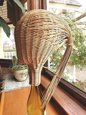 Vintage 1950's-60s Rattan Fashion Display Mannequin Head Ponytail Wicker Scarce