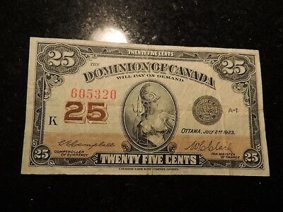 1923 DOMINION OF CANADA .25 CENTS SHINPLASTER PAPER 605320 CAMPBELL CLARK DC-24d