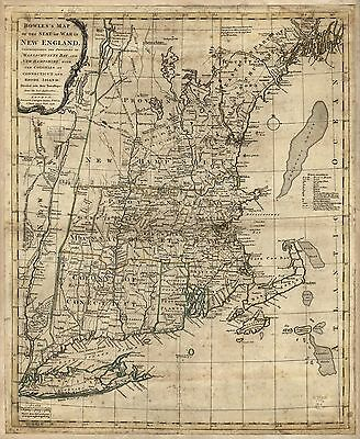 12x18 inch Reprint of American Cities Towns States Map New England