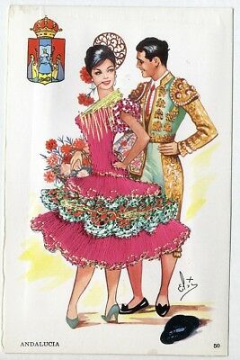 SPANISH LADY in Pink EMBROIDERED Dress Postcard by Elsi Gumier ANDALUCIA Spain