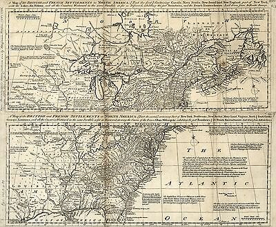 12x18 inch Reprint of Map 1700s Two Part Setlements British & French N America