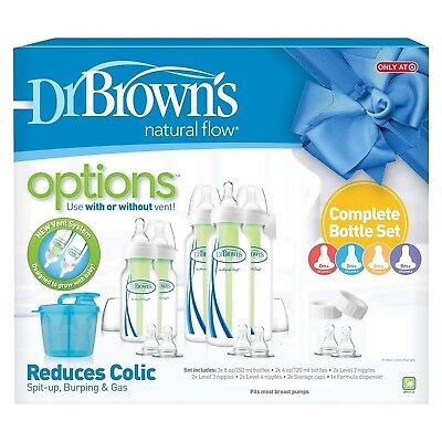 Dr. Brown's Options Complete Baby Bottle Gift Set vented or un-vented nipples NR
