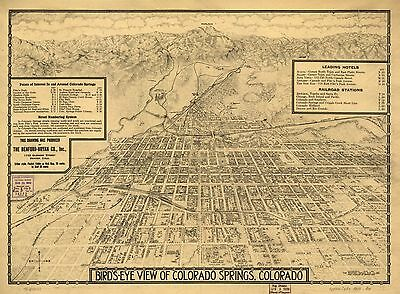 12x18 inch Reprint of American Cities Towns States Map Colorado Springs