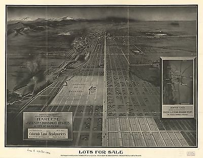 12x18 inch Reprint of USA Town State Map Harlem Jacksons Broadway Heights Col