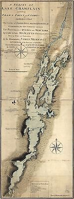 12x18 inch Reprint of Map 1765 Lake Champlain Crown Point
