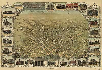 12x18 inch Reprint of American Cities Towns States Map San Jose California