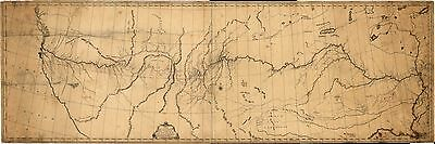 12x18 inch Reprint of American Cities Towns States Map Lewis Clark Expedition