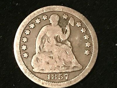 "T2: 1857 Seated Liberty Half Dime Love Token ""VRL"". Free Shipping/Returns in US"