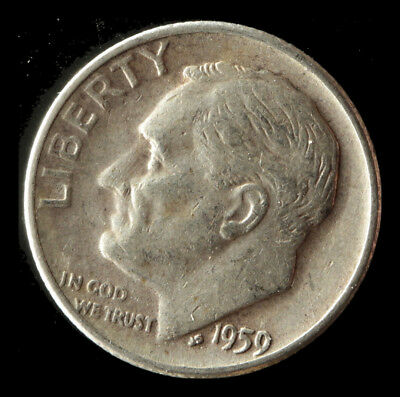 1959-D Roosevelt 90% Silver Dime Ships Free. Buy 3 get xtra AG. NR