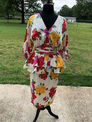 Vintage 80s Saint Romei Short Sleeved Multi Color Silk Suit Size 10