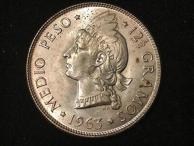 T2: Dominican Republic 1963 Silver 1/2 Peso. 100th Anniversary of Republic