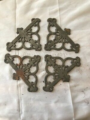 Set Of 4 Antique Eastlake Victorian Cast Iron Window Screen Corners Supports