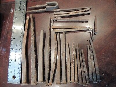 Vintage Rectangulars Iron Nails Rustic Historic New And Used Lot Of 25 Diffrents