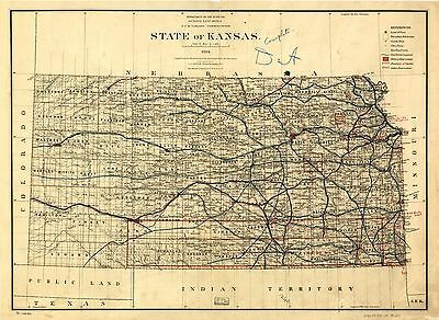 12x18 inch Reprint of American Cities Towns States Map Kansas