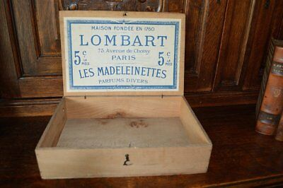 Antique French Wooden Paris Lombart Chocolate Box Wood Chocolat Box