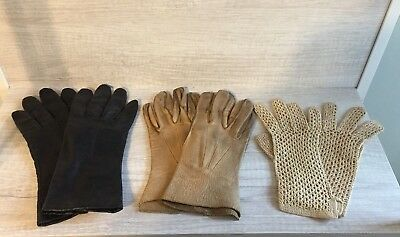 Lot of 3 Women's Vintage Black Tan Gloves, Leather, Crocheted, Retro Costume