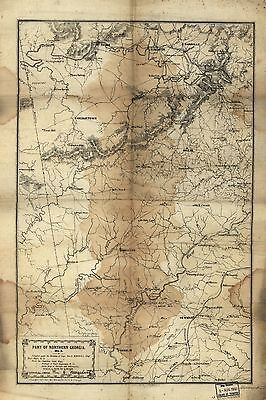 12x18 inch Reprint of American Cities Towns States Map Northern Georgia