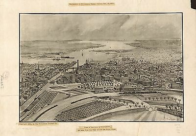 12x18 inch Reprint of American Cities Towns States Map Providence Rhode Island
