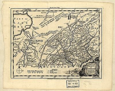 12x18 inch Reprint of American Cities Towns States Map Pennsylvania