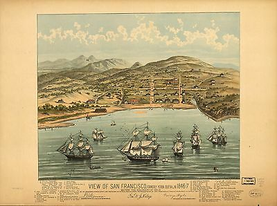 12x18 inch Reprint of American Cities Towns States Map San Francisco California