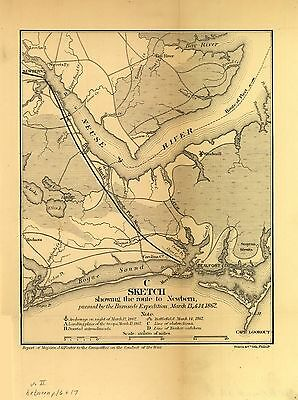 12x18 inch Reprint of American Military Map Route To Newbern North Carolina