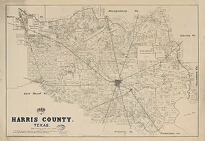 12x18 inch Reprint of American Cities Towns States Map Harris County Texas