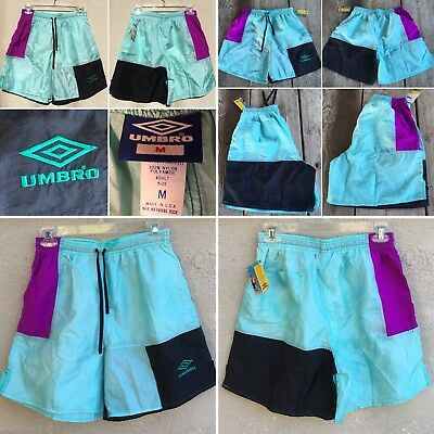 Vintage UMBRO Shorts Nylon 80s Color Block Adult Size M Made In USA NOS 1980s