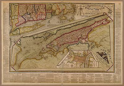 12x18 inch Reprint of American Cities Towns States Map New York