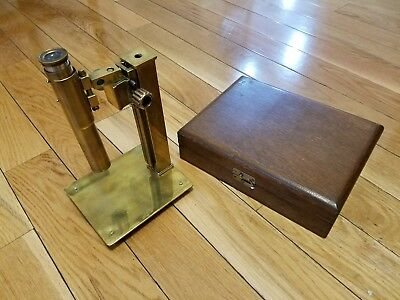 Vintage Antique Brass Microscope With Wood Box, Easy dissasembly. Seems to work