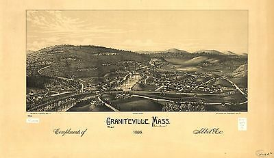 12x18 inch Reprint of American Cities Towns States Map Graniteville Mass
