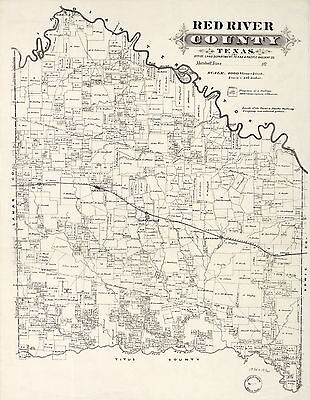 12x18 inch Reprint of American Cities Towns States Map Red River County Texas