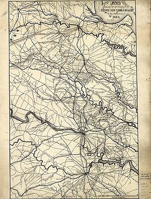 12x18 inch Reprint of American Military Map 10th New York Cavalry