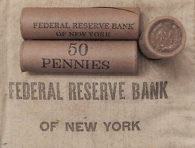 1x 50 Cent Indian Head Penny Cent Roll 50 Cents IHC 1859-1909 Old US Pennies J08