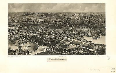 12x18 inch Reprint of American Cities Towns States Map Hopedale Mass