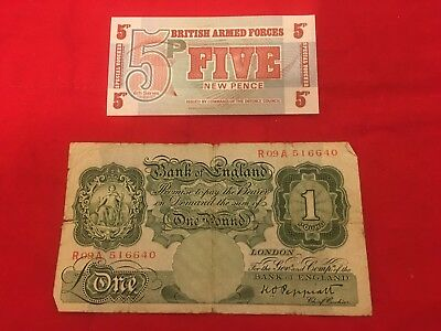 Two BRITISH Banknotes Bank of England 1 POUND & Armed Forces 5 PENCE - Lot 2165