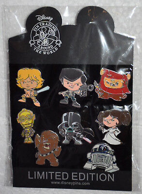 Disney Pin STAR WARS Cuties Cute 8 pc lot Luke Leia R2D2 C-3PO Chewy Vader Han