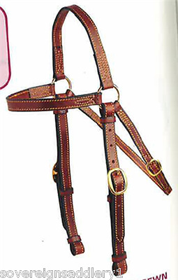 Tan Leather Single Head Barcoo Bridle including Reins Cob Size