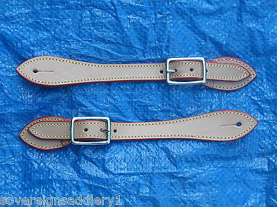 Light Tan Leather Spur Straps with Edge Stitching