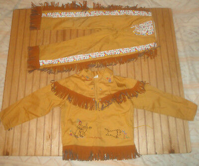 VTG 40S-50s COWBOY RODEO WESTERN OUTFIT Child sz 6X/7 W/FRINGE WALLS OF TEXAS