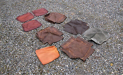 Lot of 9 Pieces of Leather for Chair Seats inv25 For Stickley chairs.